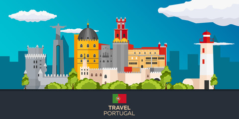 Travel to Portugal skyline. Vector flat illustration.