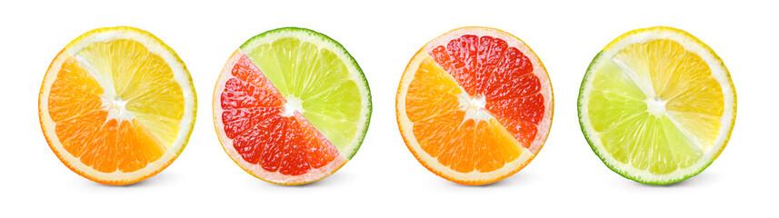 Citrus fruit. Mix of orange, lemon, lime, grapefruit. Slices iso