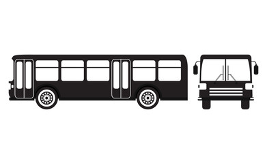 Flat bus silhouette icon.Set vector flat city and school bus modern and retro old vintage.Public transport.Design elements for the websites, booklets, leaflets.
