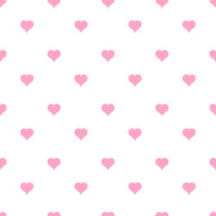 Pink hearts pattern on white background. Vector illustration
