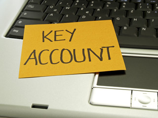 Memo note on notebook, Key account