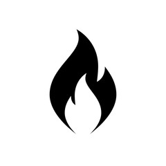 Fire flame icon. Black icon isolated on white background. Fire flame silhouette. Simple icon. Web site page and mobile app design vector element.