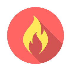 Fire flame icon with long shadow. Flat design style. Round icon. Fire flame silhouette. Simple circle icon. Modern flat icon in stylish colors. Web site page and mobile app design vector element.