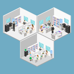 Flat 3d isometric abstract office floor interior departments concept . People working in offices.