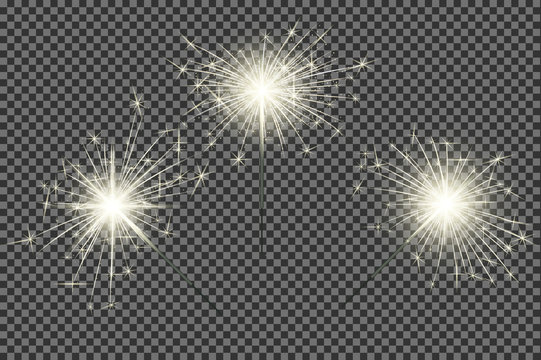 Closeup isolated sparkler shine bengal lights for holiday decor