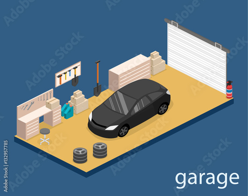Isometric flat 3D vector interior working place in garage
