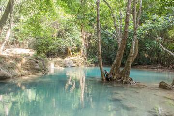 beautiful green waterfall in thailand