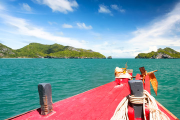 Tourist boat heading to the islands.At ang thong national park Thailand.