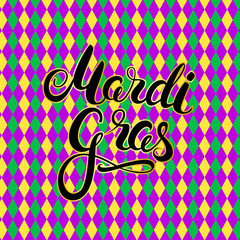 Mardi Gras calligraphy on harlequin colorful pattern background. Masquerade carnival lettering. Vector Illustration.