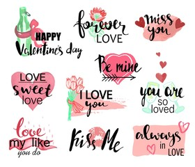 Valentines day watercolor hand drawn design elements with calligraphy. Handwritten modern lettering. Flower, cat with heart, champagne, gift and other items