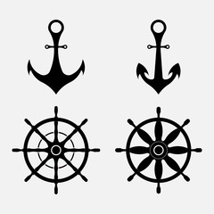 anchor and steering wheel, nautical symbols