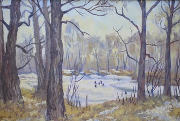 Winter landscape. Oil painting