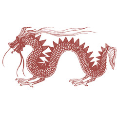 vector hand drawn illustration of dragon