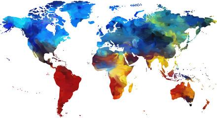 Bunte Weltkarte, gemalte Weltkarte