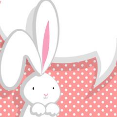 White cute rabbit pink comic bubble
