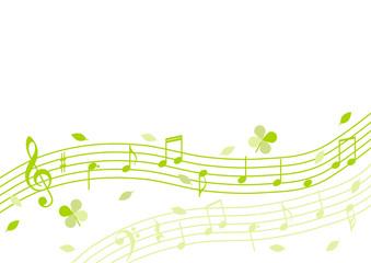 音符と葉 五線譜 背景イラスト