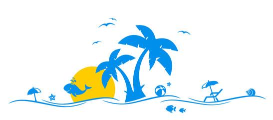 Poster Turkoois Palmen und Strand