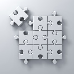 White jigsaw puzzle the last piece stand out from the crowd different concept on white wall background with shadow 3D rendering
