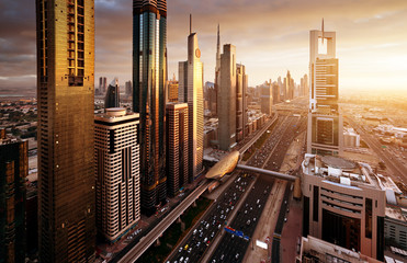 Poster Middle East Dubai skyline in sunset time, United Arab Emirates