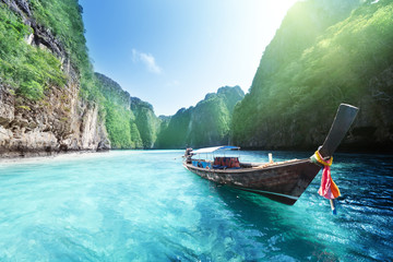 Fotomurales - boat and beautiful sea, Phi Phi island, Thailand