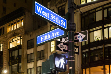View of the signs with the names of the manhattan streets in New York