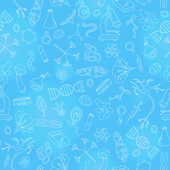 Seamless background with hand drawn icons on the theme of biology,light outline on a blue background