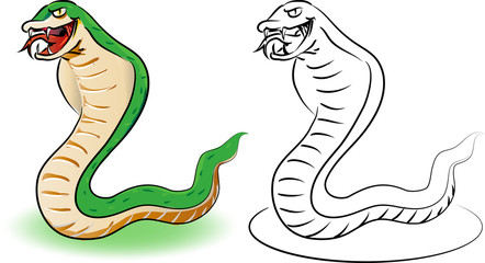 Cartoon snake. Coloring book  educational  for kids,  Coloring Cartoon Illustration