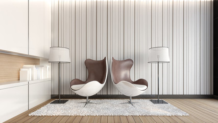 Double armchairs in the living room / 3D Rendering