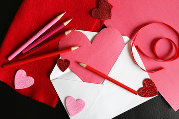 Heart Shaped Valentine's Day Homemade Card in Envelope with Draw