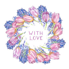 Hyacinth and Tulips background in watercolor style, greeting card for 8 March holiday. Hand drawn lettering with love