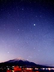 富士山と星