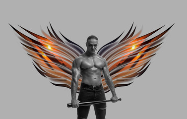 bodybuilder brutal man with naked torso with colored wings behind the back on a white background