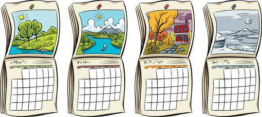 A set of four cartoon calendars, each representing the seasons of spring, summer, autumn and winter.