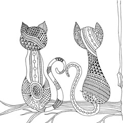 Doodle cat pair sitting on branch
