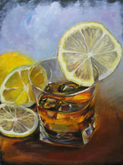 Whiskey in glass with ice and lemon. Oil painting on canvas illustration, multicolored blue and brown background.