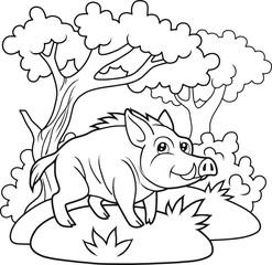 Cartoon wild boar walking in the woods