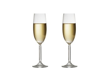 Glasses of champagne on white background. 3d illustration