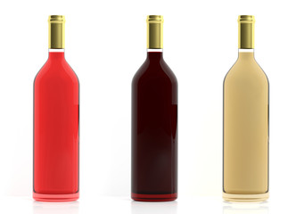 Bottles of wine on white background. 3d illustration
