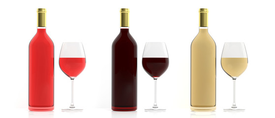 Bottles and glasses of wine on white background. 3d illustration