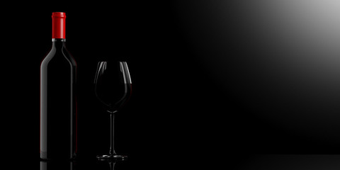 Wine glass and bottle on black background. 3d illustration