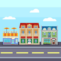 Small town urban landscape in flat design style,  illustration. buildings, street ice cream shop, coffee cafe