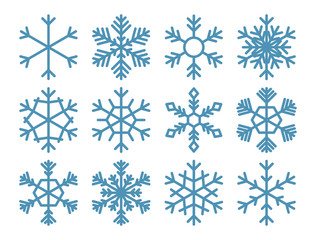 Set of vector snowflakes on a white background