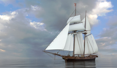 Old Sailboat On The Sea 3D Illustration
