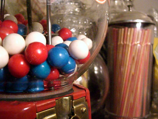 Gumball machine in antique old fashioned candy shop