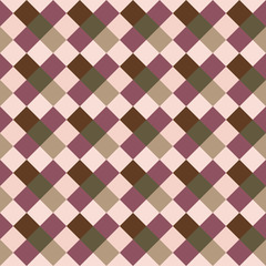 Seamless geometric checked pattern. Diagonal square, braiding, woven line background. Patchwork, rhombus, staggered texture. Rosybrown, brown, green colors. Winter theme. Vector