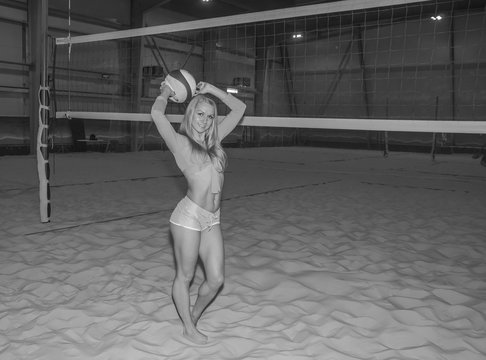 s volleyball sexy girl posing, black and white.