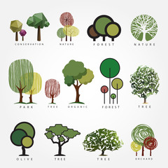 Set of vector tree illustration. Geometric, stylized, hand drawn and polygonal style tree illustrations. Tree label, logo, icon, nature, eco, green, organic, outdoors design.