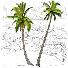 Palms on a sea background.
