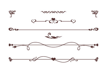 Calligraphic elements with hearts isolated on white. Vintage dividers, border with roses, flowers, love symbols. Vector card. Invitation to the celebration of wedding or Saint Valentines Day