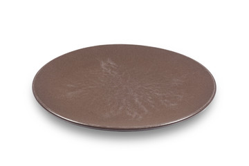 Dark brown flat shallow ceramic plate on white background directly from side